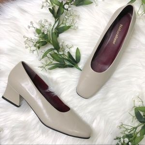 Natiralizer | Grey Nude Square Rounded Toe Heels
